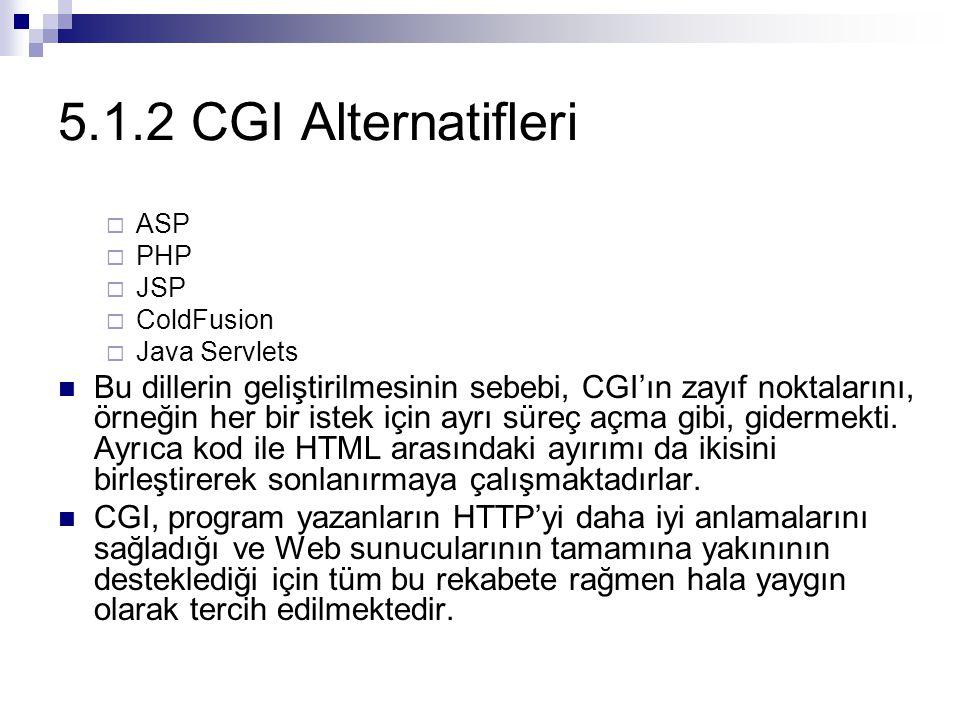 5.1.2 CGI Alternatifleri  ASP  PHP  JSP  ColdFusion  Java Servlets Bu dillerin geliştirilmesinin sebebi, CGI'ın zayıf noktalarını, örneğin her bi