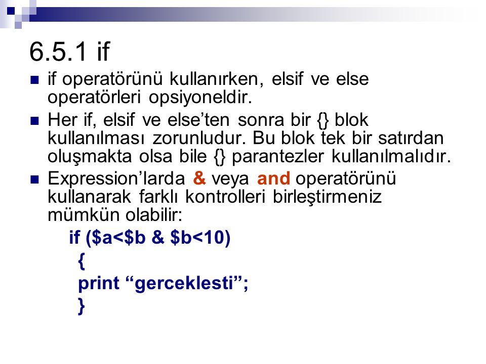 6.5.1 if if operatörünü kullanırken, elsif ve else operatörleri opsiyoneldir.