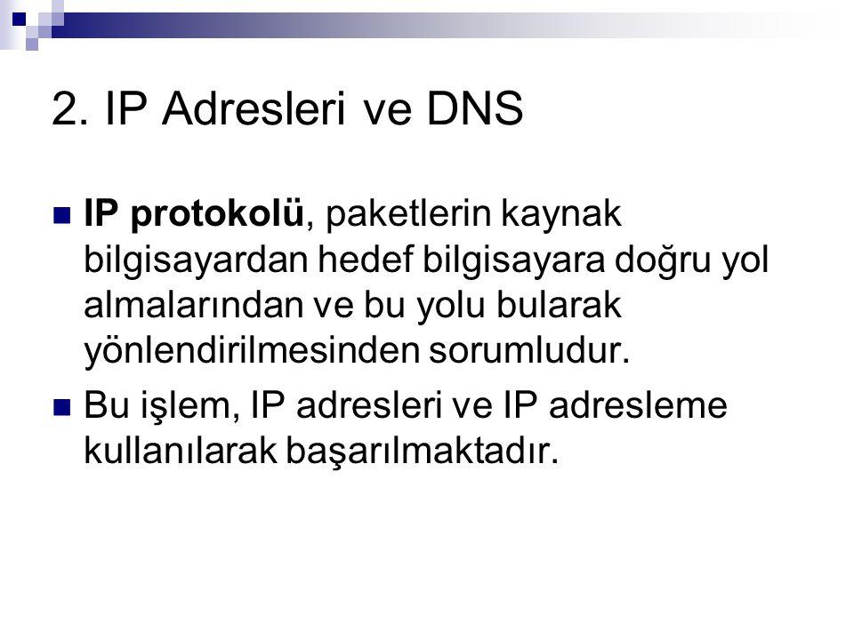 2. IP Adresleri ve DNS IP protokolü, paketlerin kaynak bilgisayardan hedef bilgisayara doğru yol almalarından ve bu yolu bularak yönlendirilmesinden s