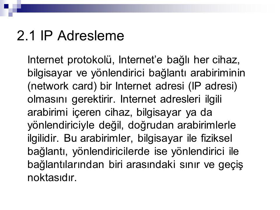 2.1 IP Adresleme Internet protokolü, Internet'e bağlı her cihaz, bilgisayar ve yönlendirici bağlantı arabiriminin (network card) bir Internet adresi (