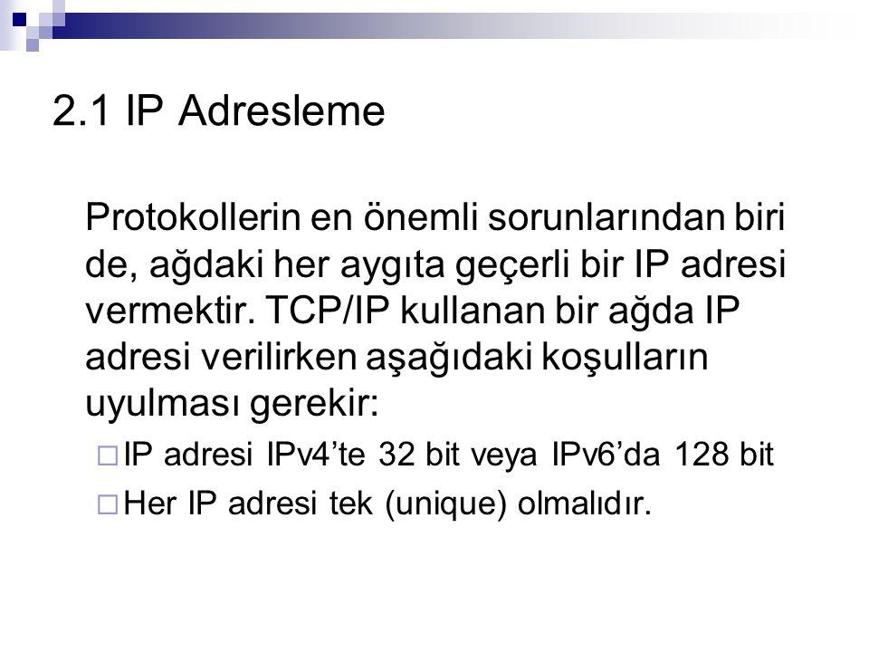 2.1 IP Adresleme Protokollerin en önemli sorunlarından biri de, ağdaki her aygıta geçerli bir IP adresi vermektir. TCP/IP kullanan bir ağda IP adresi