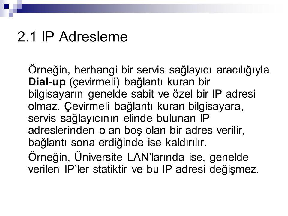 2.1 IP Adresleme Örneğin, herhangi bir servis sağlayıcı aracılığıyla Dial-up (çevirmeli) bağlantı kuran bir bilgisayarın genelde sabit ve özel bir IP