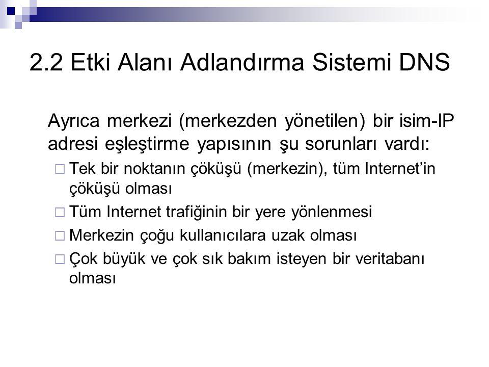 2.2 Etki Alanı Adlandırma Sistemi DNS Ayrıca merkezi (merkezden yönetilen) bir isim-IP adresi eşleştirme yapısının şu sorunları vardı:  Tek bir nokta
