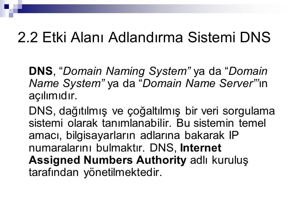 """2.2 Etki Alanı Adlandırma Sistemi DNS DNS, """"Domain Naming System"""" ya da """"Domain Name System"""" ya da """"Domain Name Server""""'ın açılımıdır. DNS, dağıtılmış"""