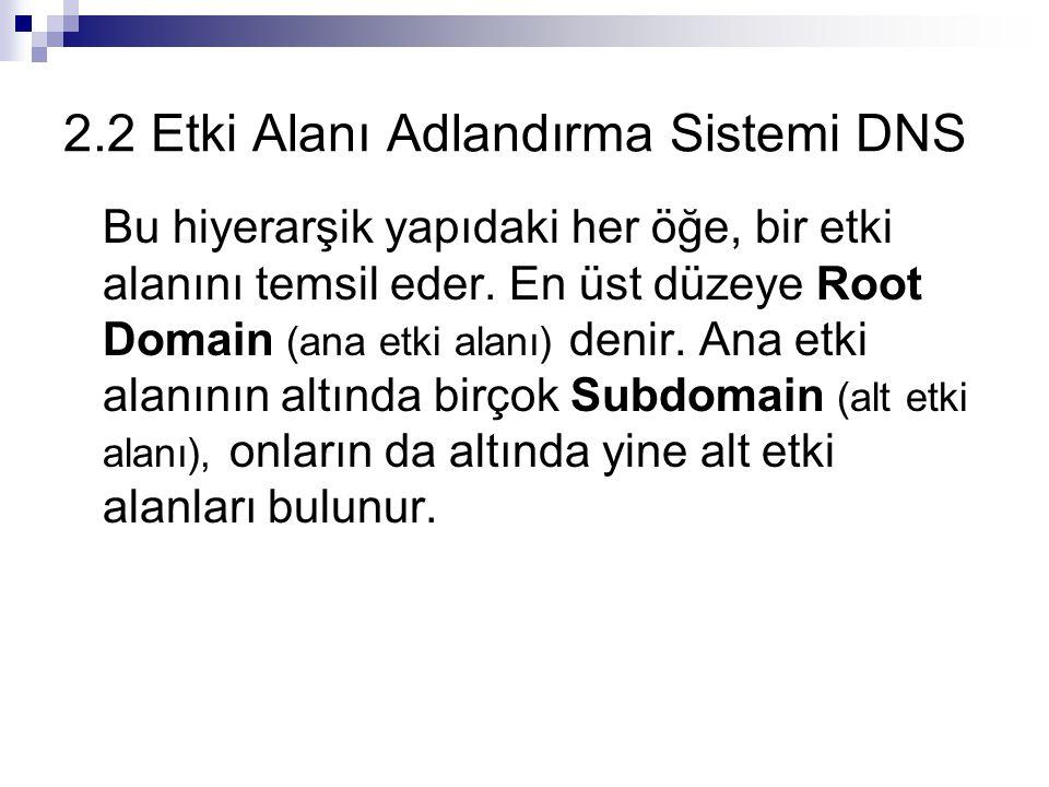 2.2 Etki Alanı Adlandırma Sistemi DNS Bu hiyerarşik yapıdaki her öğe, bir etki alanını temsil eder. En üst düzeye Root Domain (ana etki alanı) denir.