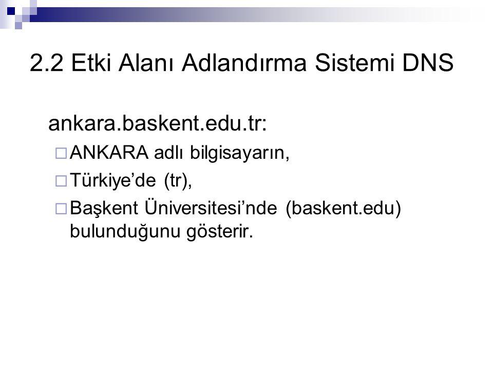 2.2 Etki Alanı Adlandırma Sistemi DNS ankara.baskent.edu.tr:  ANKARA adlı bilgisayarın,  Türkiye'de (tr),  Başkent Üniversitesi'nde (baskent.edu) b