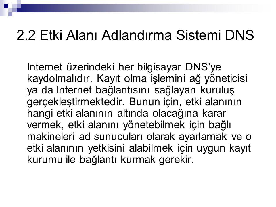 2.2 Etki Alanı Adlandırma Sistemi DNS Internet üzerindeki her bilgisayar DNS'ye kaydolmalıdır. Kayıt olma işlemini ağ yöneticisi ya da Internet bağlan
