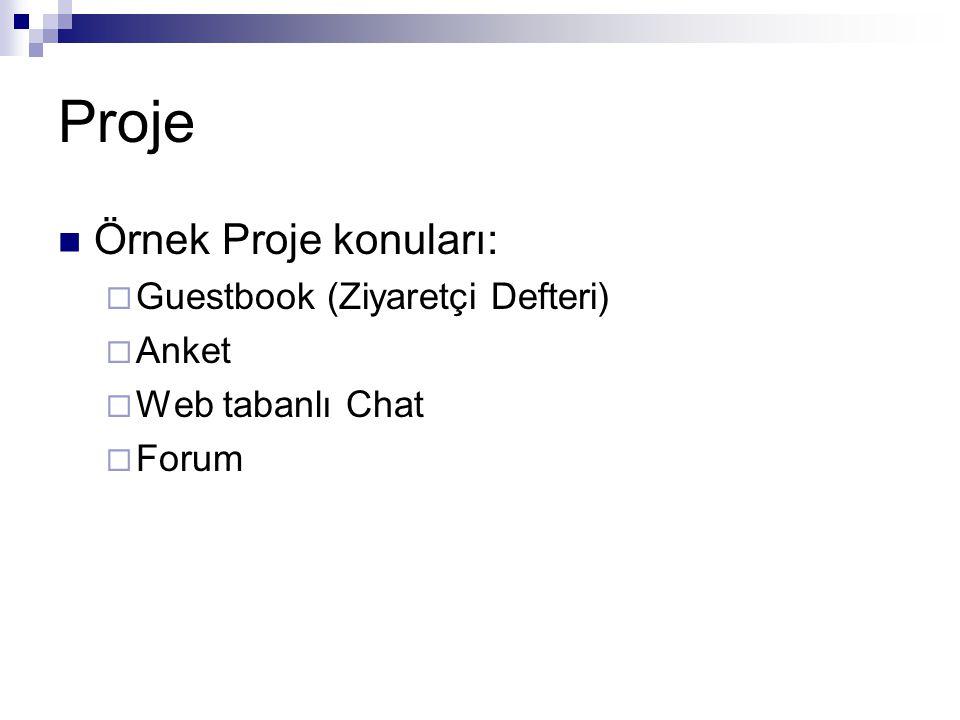 Örnek Proje konuları:  Guestbook (Ziyaretçi Defteri)  Anket  Web tabanlı Chat  Forum