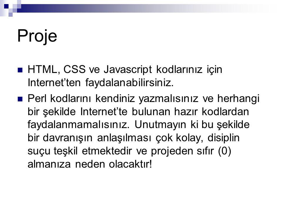 Proje HTML, CSS ve Javascript kodlarınız için Internet'ten faydalanabilirsiniz. Perl kodlarını kendiniz yazmalısınız ve herhangi bir şekilde Internet'
