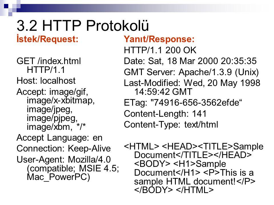 3.2.1 HTTP Protokolü: Request Her bir HTTP etkileşimi istemci tarafından, genellikle bir Web tarayıcısı, yapılan istek ile başlar.