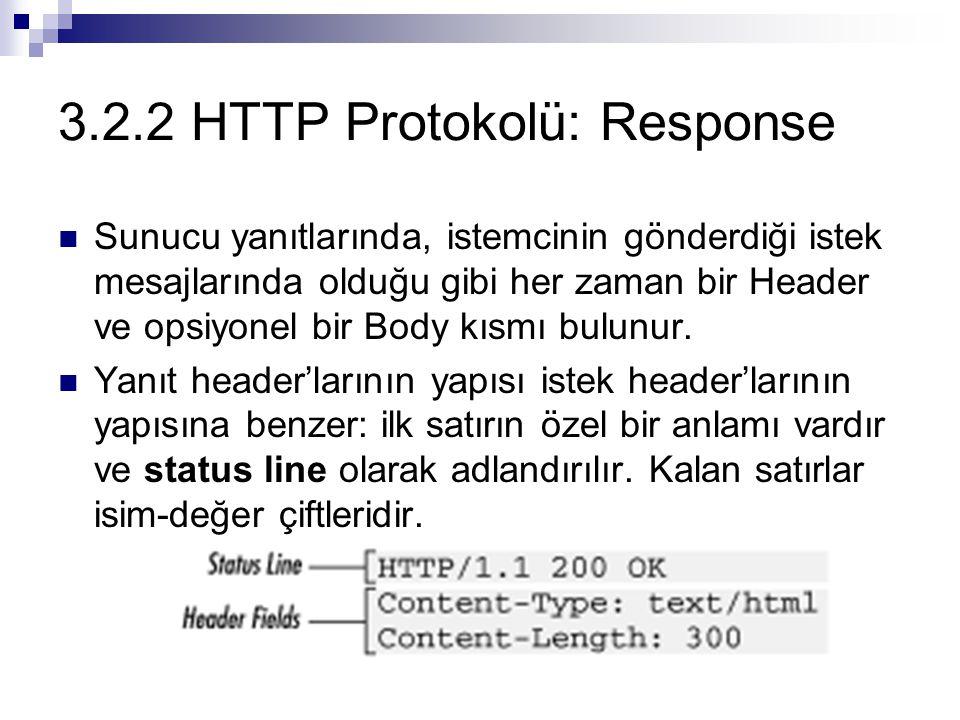 3.2.2 HTTP Protokolü: Response Sunucu yanıtlarında, istemcinin gönderdiği istek mesajlarında olduğu gibi her zaman bir Header ve opsiyonel bir Body kı