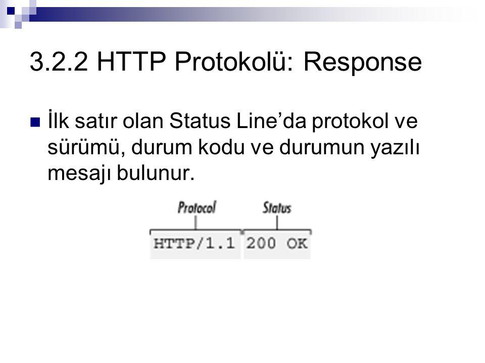 3.2.2 HTTP Protokolü: Response Durum kodları:  Seri 1xx : Alt seviye HTTP etkileşimlerinde kullanılırlar.