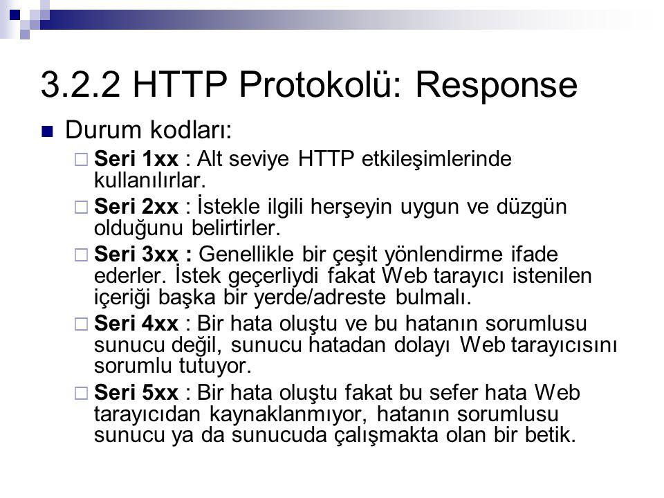 3.2.2 HTTP Protokolü: Response HeaderTanım Content-BaseTüm göreli URL'leri çözümlemek için sunucunun taban (base) URL'ini tanımlar Content-LengthYanıt mesajının Body kısmının boyutunu (byte olarak) belirtir Content-Typeİsteğin ortamını (media) belirtir Dateİsteğin gönderildiği tarih ve zamanı tanımlar eTagİstenilen kaynak için bir varlık etiketi (entity tag) yaratır