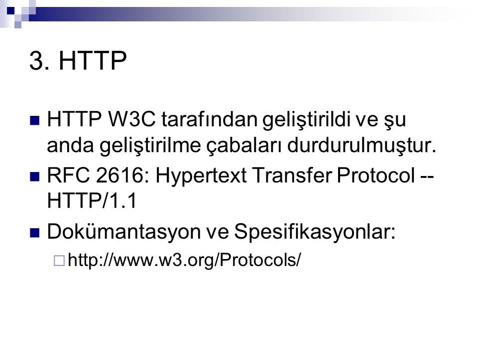 3. HTTP HTTP W3C tarafından geliştirildi ve şu anda geliştirilme çabaları durdurulmuştur. RFC 2616: Hypertext Transfer Protocol -- HTTP/1.1 Dokümantas