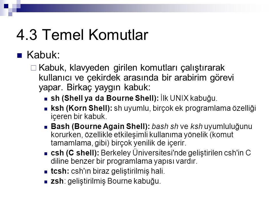 4.3 Temel Komutlar Kabuk:  Kabuk, klavyeden girilen komutları çalıştırarak kullanıcı ve çekirdek arasında bir arabirim görevi yapar.