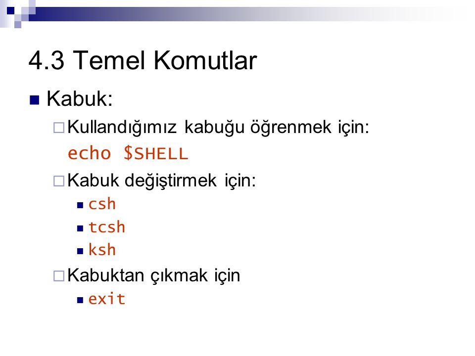 4.3 Temel Komutlar Kabuk:  Kullandığımız kabuğu öğrenmek için: echo $SHELL  Kabuk değiştirmek için: csh tcsh ksh  Kabuktan çıkmak için exit