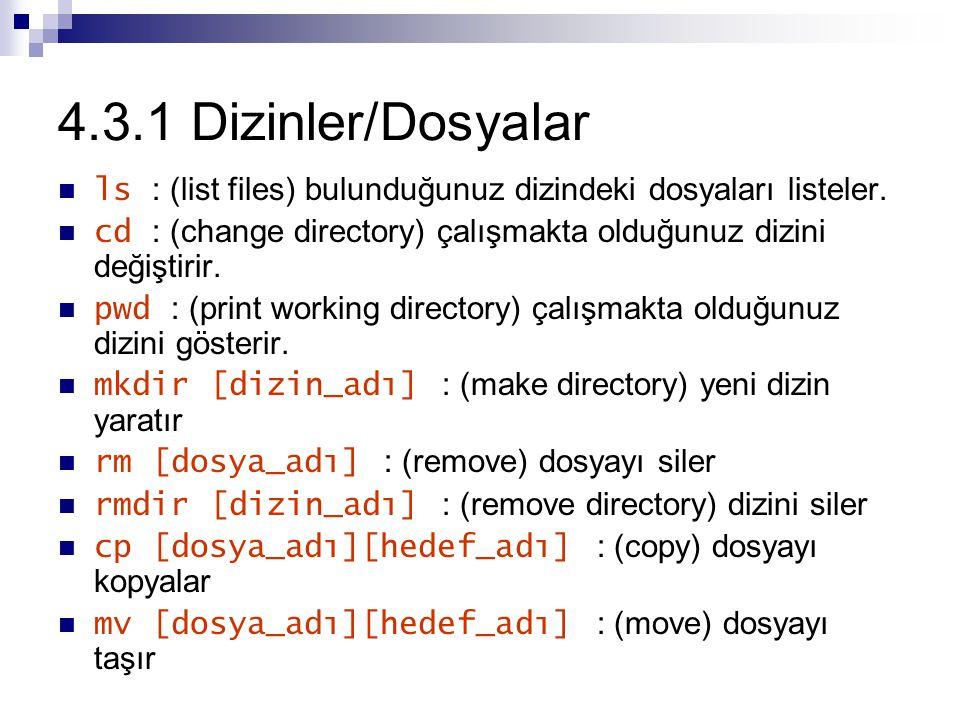 4.3.1 Dizinler/Dosyalar ls : (list files) bulunduğunuz dizindeki dosyaları listeler.