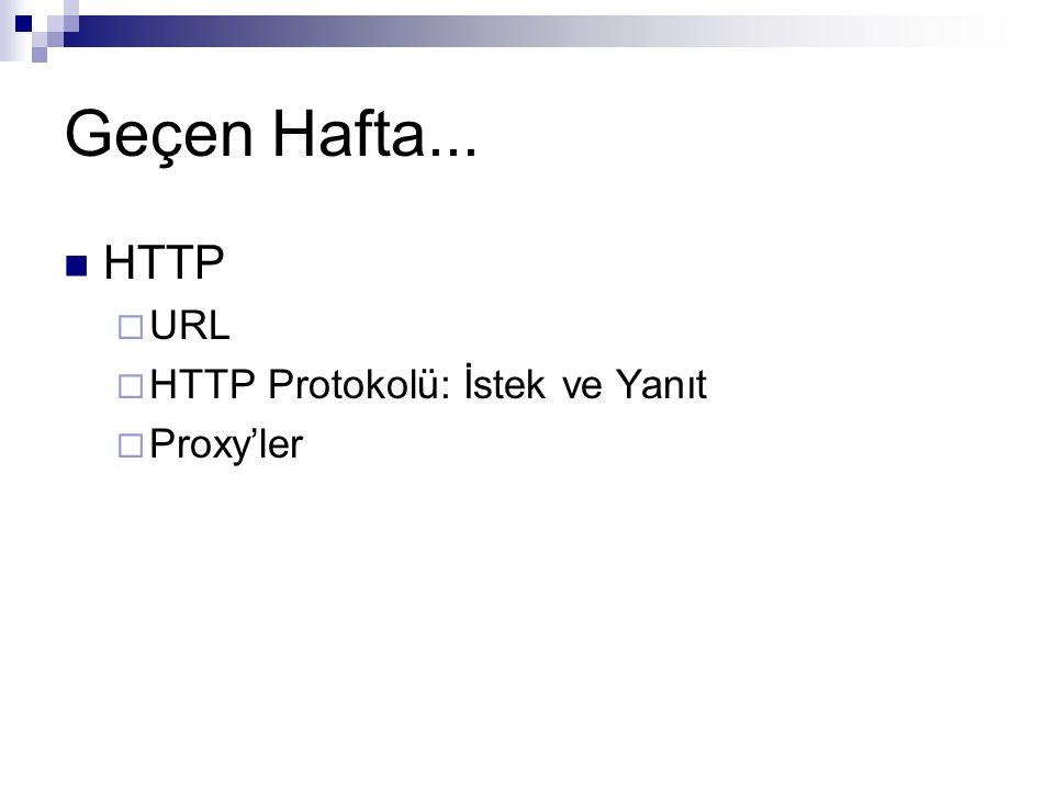 Geçen Hafta... HTTP  URL  HTTP Protokolü: İstek ve Yanıt  Proxy'ler