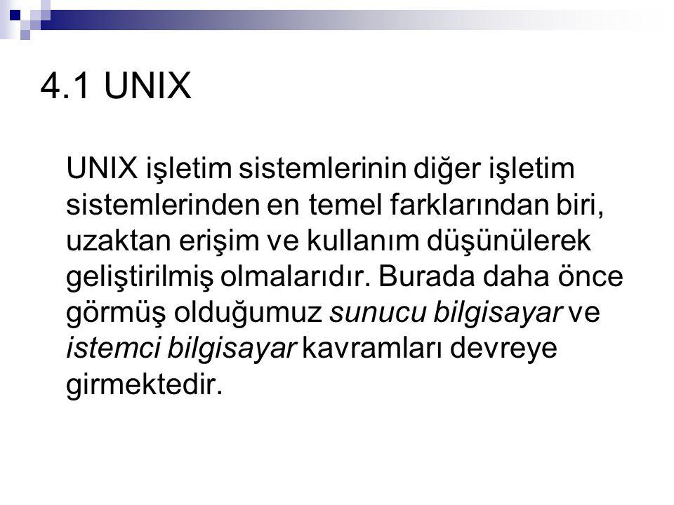 4.1 UNIX UNIX işletim sistemlerinin diğer işletim sistemlerinden en temel farklarından biri, uzaktan erişim ve kullanım düşünülerek geliştirilmiş olmalarıdır.