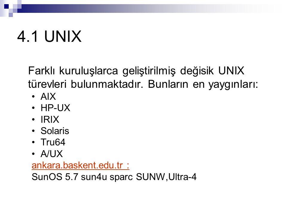 4.1 UNIX Farklı kuruluşlarca geliştirilmiş değisik UNIX türevleri bulunmaktadır.