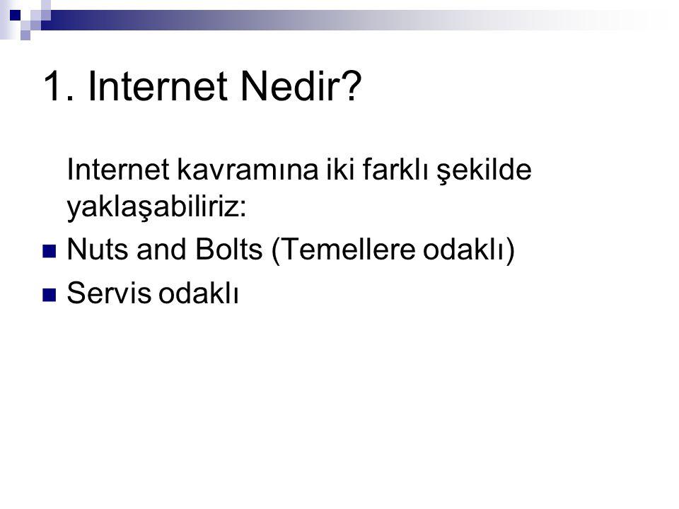 1. Internet Nedir? Internet kavramına iki farklı şekilde yaklaşabiliriz: Nuts and Bolts (Temellere odaklı) Servis odaklı
