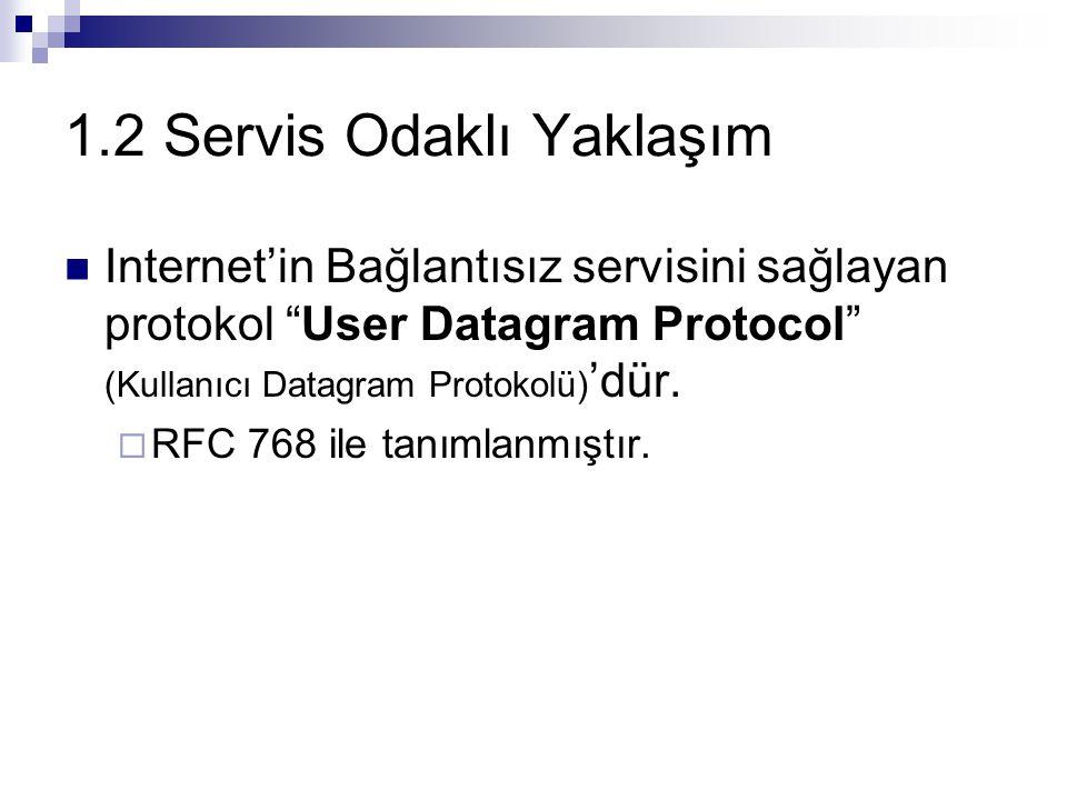 """1.2 Servis Odaklı Yaklaşım Internet'in Bağlantısız servisini sağlayan protokol """"User Datagram Protocol"""" (Kullanıcı Datagram Protokolü) 'dür.  RFC 768"""