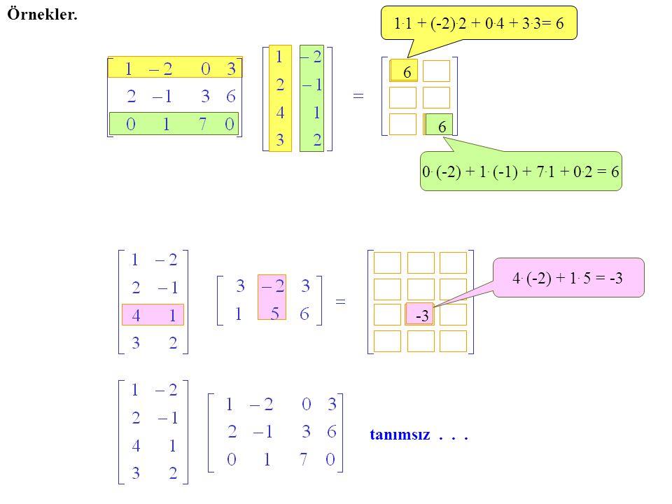 Örnekler. 1. 1 + (-2). 2 + 0. 4 + 3. 3= 6 6 0. (-2) + 1. (-1) + 7. 1 + 0. 2 = 6 6 4. (-2) + 1. 5 = -3 -3 tanımsız...