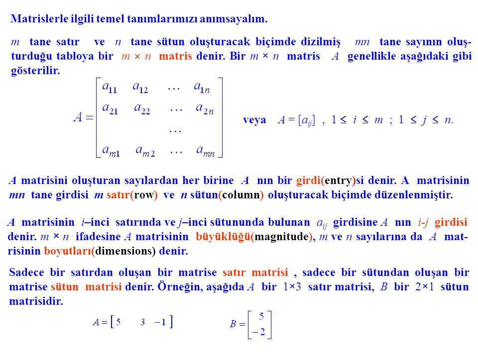 Matrislerle ilgili temel tanımlarımızı anımsayalım. m tane satır ve n tane sütun oluşturacak biçimde dizilmiş mn tane sayının oluş- turduğu tabloya bi