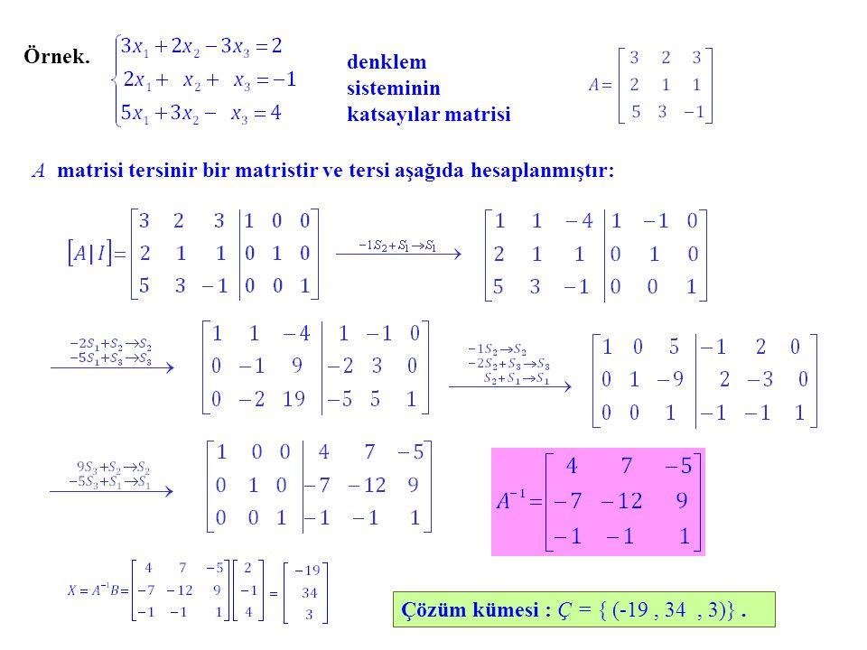 Örnek. denklem sisteminin katsayılar matrisi A tersinir bir matristir ve tersi aşağıda hesaplanmıştır: Çözüm kümesi : Ç = { (-19, 34, 3)}.