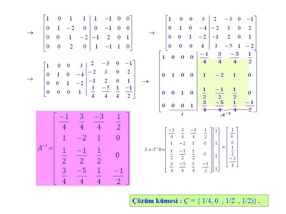 Çözüm kümesi : Ç = { 1/4, 0, 1/2, 1/2)}.