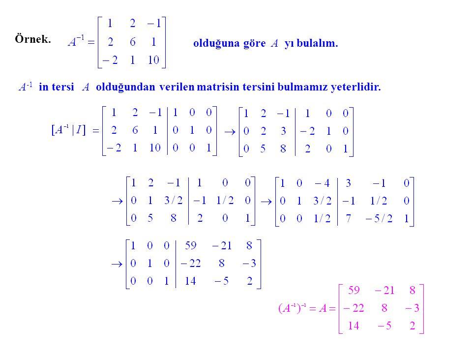 Örnek. olduğuna göre A yı bulalım. A -1 in tersi A olduğundan verilen matrisin tersini bulmamız yeterlidir.