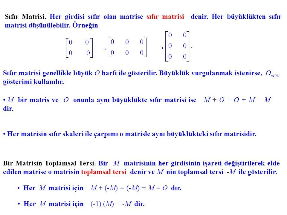 Sıfır Matrisi. Her girdisi sıfır olan matrise sıfır matrisi denir. Her büyüklükten sıfır matrisi düşünülebilir. Örneğin Sıfır matrisi genellikle büyük