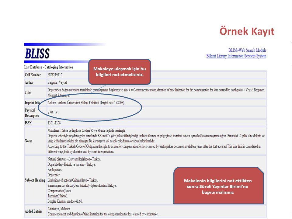 Örnek Kayıt Makaleye ulaşmak için bu bilgileri not etmelisiniz.