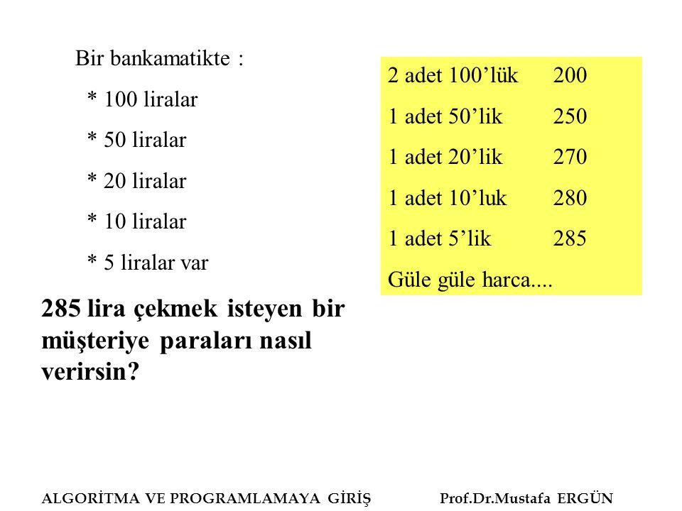 Bir bankamatikte : * 100 liralar * 50 liralar * 20 liralar * 10 liralar * 5 liralar var 285 lira çekmek isteyen bir müşteriye paraları nasıl verirsin.