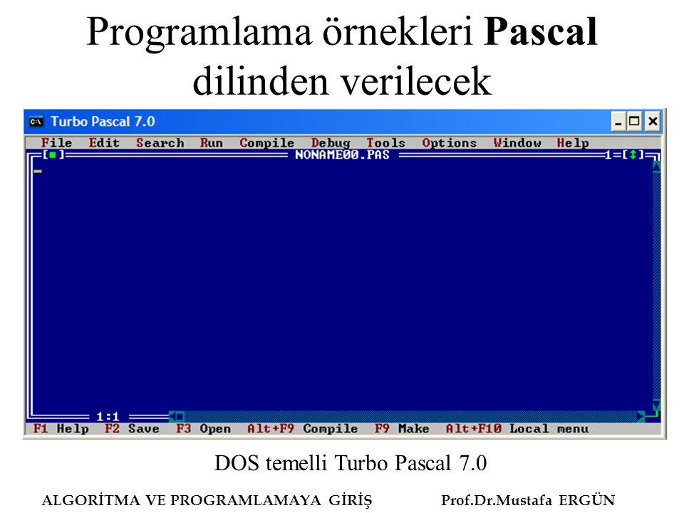 Programlama örnekleri Pascal dilinden verilecek DOS temelli Turbo Pascal 7.0 ALGORİTMA VE PROGRAMLAMAYA GİRİŞ Prof.Dr.Mustafa ERGÜN