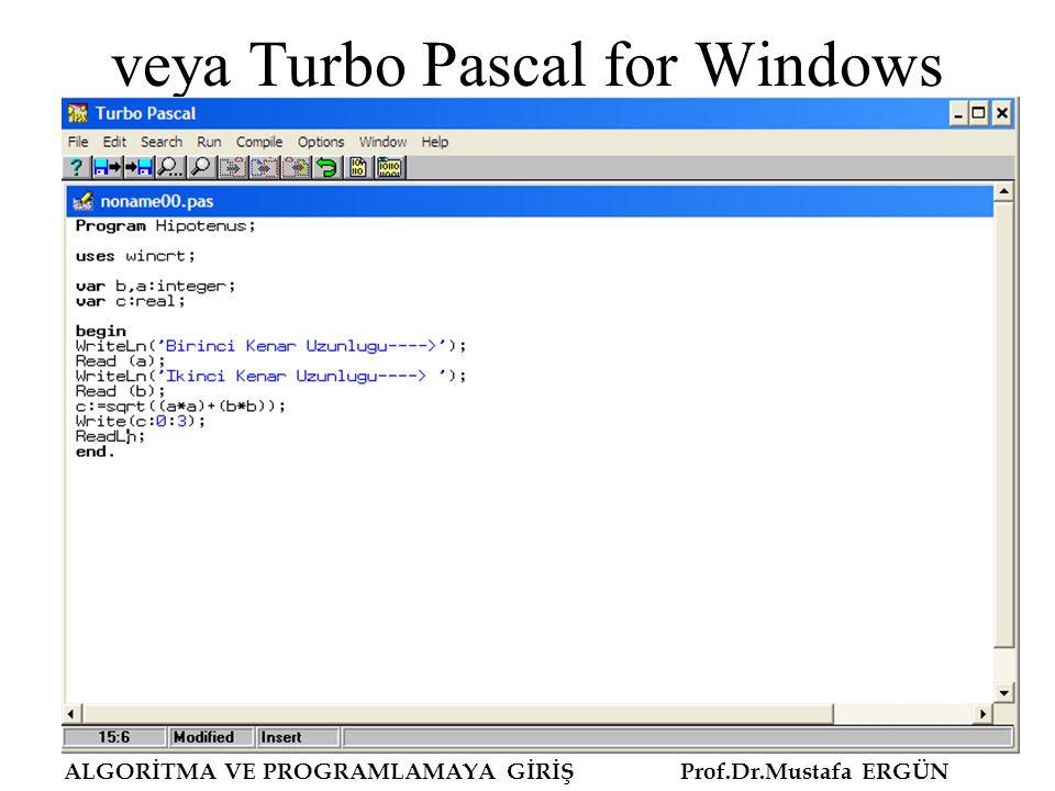 veya Turbo Pascal for Windows ALGORİTMA VE PROGRAMLAMAYA GİRİŞ Prof.Dr.Mustafa ERGÜN