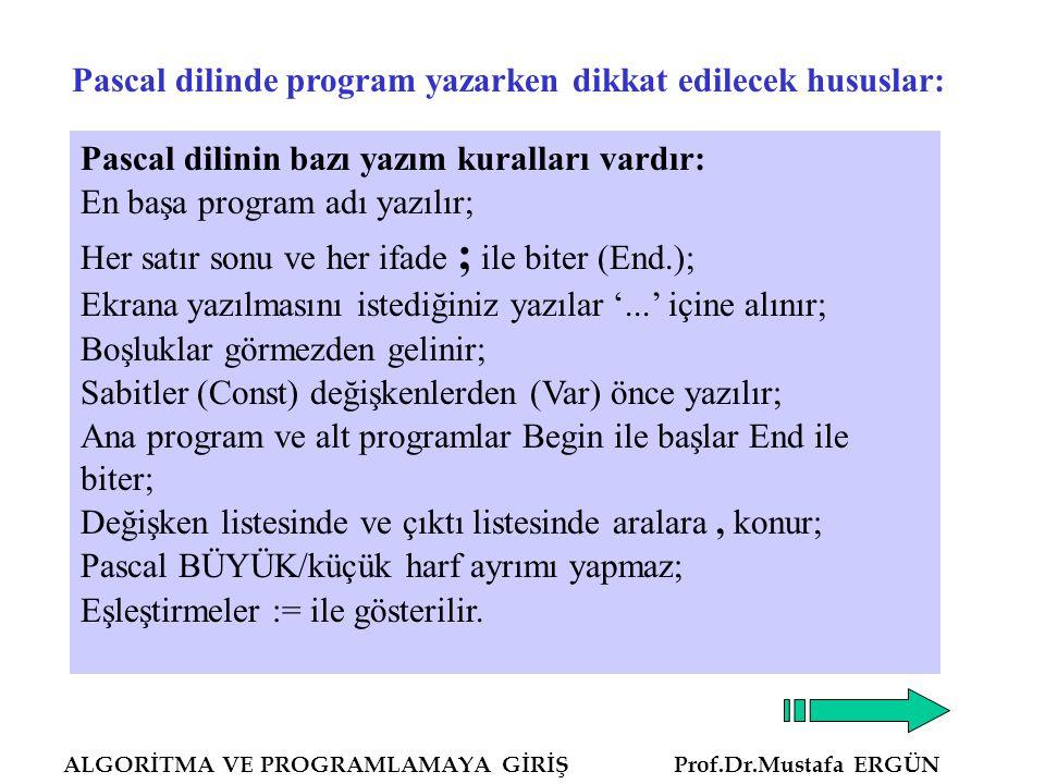 ALGORİTMA VE PROGRAMLAMAYA GİRİŞ Prof.Dr.Mustafa ERGÜN Pascal dilinde program yazarken dikkat edilecek hususlar: Pascal dilinin bazı yazım kuralları vardır: En başa program adı yazılır; Her satır sonu ve her ifade ; ile biter (End.); Ekrana yazılmasını istediğiniz yazılar '...' içine alınır; Boşluklar görmezden gelinir; Sabitler (Const) değişkenlerden (Var) önce yazılır; Ana program ve alt programlar Begin ile başlar End ile biter; Değişken listesinde ve çıktı listesinde aralara, konur; Pascal BÜYÜK/küçük harf ayrımı yapmaz; Eşleştirmeler := ile gösterilir.
