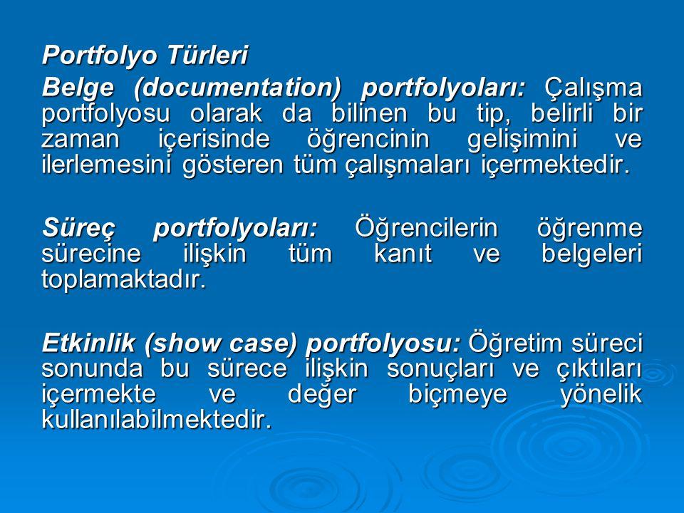 Portfolyo Türleri Belge (documentation) portfolyoları: Çalışma portfolyosu olarak da bilinen bu tip, belirli bir zaman içerisinde öğrencinin gelişimin