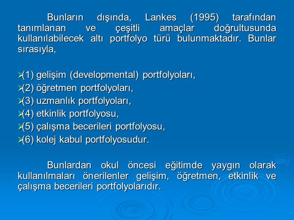 Bunların dışında, Lankes (1995) tarafından tanımlanan ve çeşitli amaçlar doğrultusunda kullanılabilecek altı portfolyo türü bulunmaktadır. Bunlar sıra