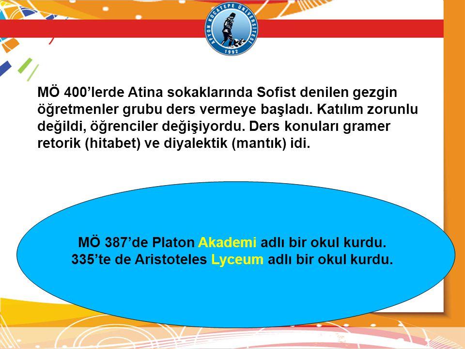 MÖ 400'lerde Atina sokaklarında Sofist denilen gezgin öğretmenler grubu ders vermeye başladı.