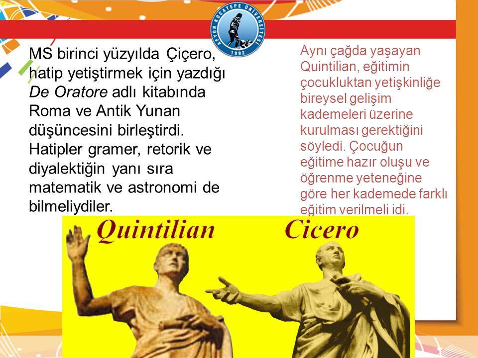 MS birinci yüzyılda Çiçero, hatip yetiştirmek için yazdığı De Oratore adlı kitabında Roma ve Antik Yunan düşüncesini birleştirdi.