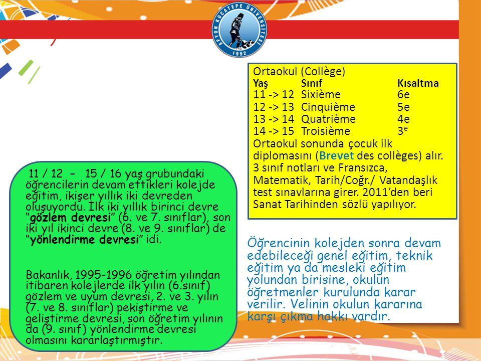 Ortaokul (Collège) YaşSınıfKısaltma 11 -> 12Sixième6e 12 -> 13Cinquième5e 13 -> 14Quatrième4e 14 -> 15Troisième3 e Ortaokul sonunda çocuk ilk diplomas
