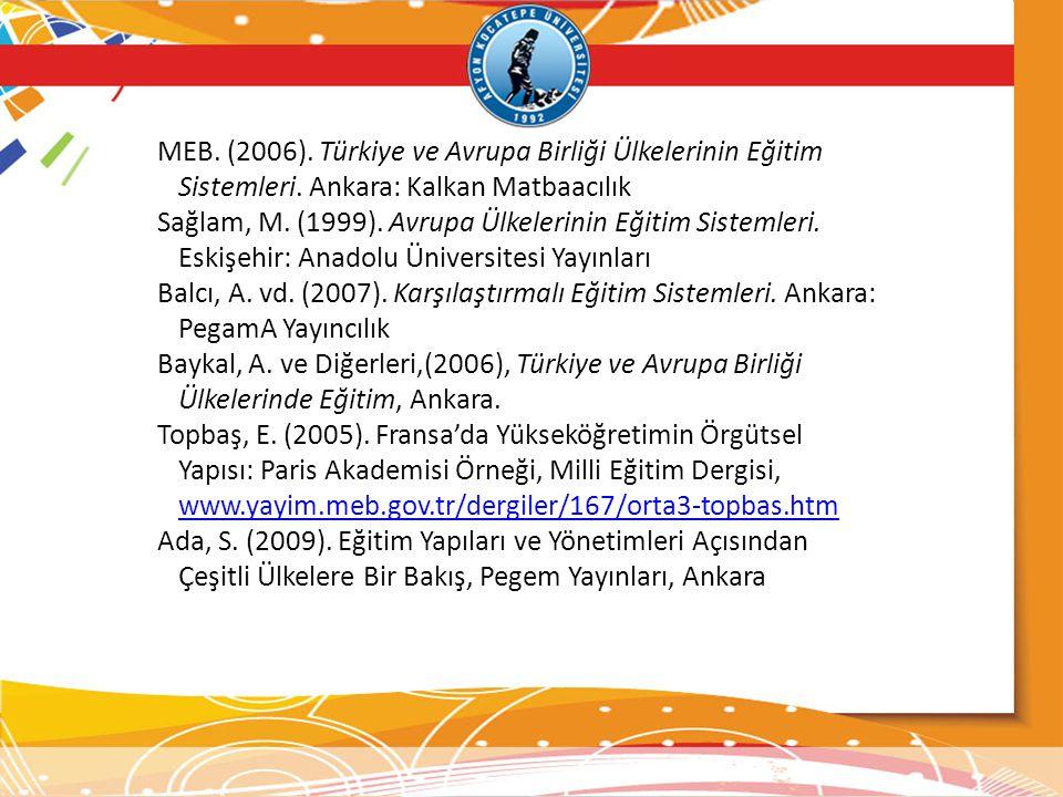 MEB. (2006). Türkiye ve Avrupa Birliği Ülkelerinin Eğitim Sistemleri. Ankara: Kalkan Matbaacılık Sağlam, M. (1999). Avrupa Ülkelerinin Eğitim Sistemle