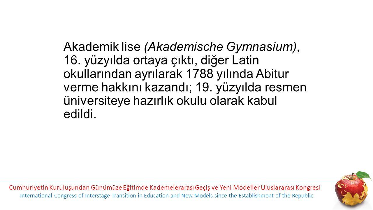 Akademik lise (Akademische Gymnasium), 16.