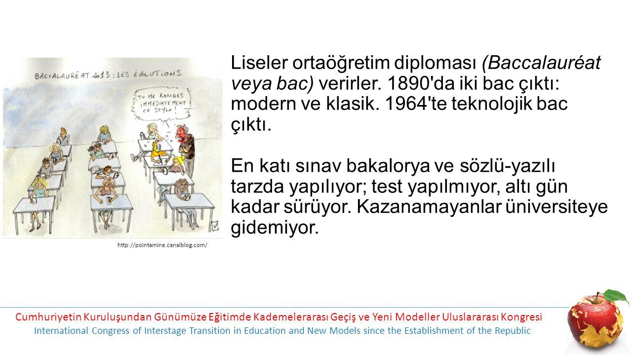 Liseler ortaöğretim diploması (Baccalauréat veya bac) verirler. 1890'da iki bac çıktı: modern ve klasik. 1964'te teknolojik bac çıktı. En katı sınav b