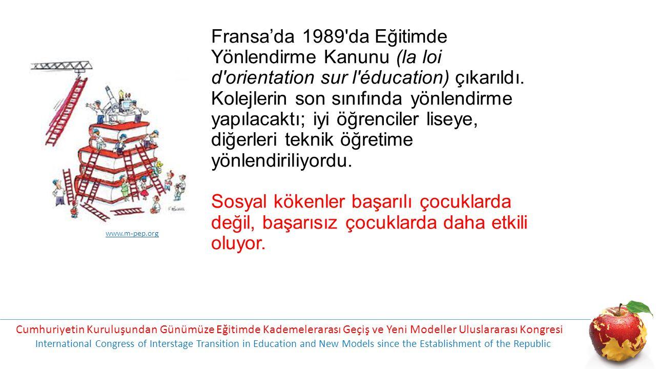 Fransa'da 1989'da Eğitimde Yönlendirme Kanunu (la loi d'orientation sur l'éducation) çıkarıldı. Kolejlerin son sınıfında yönlendirme yapılacaktı; iyi