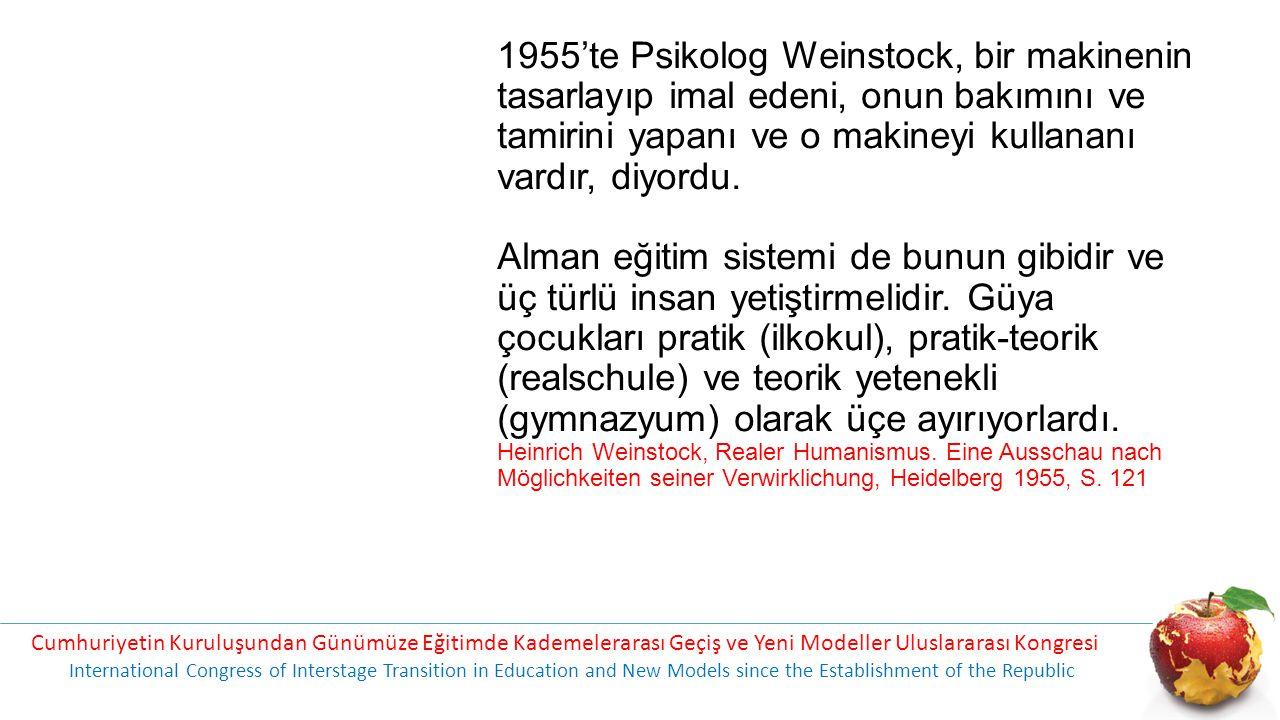1955'te Psikolog Weinstock, bir makinenin tasarlayıp imal edeni, onun bakımını ve tamirini yapanı ve o makineyi kullananı vardır, diyordu. Alman eğiti