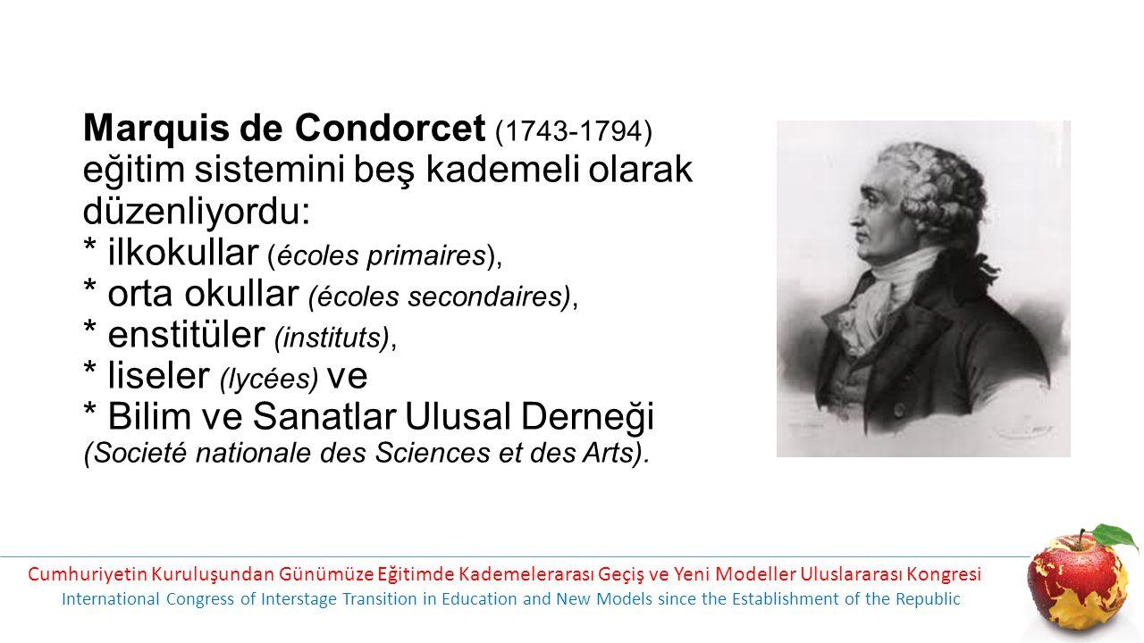 Marquis de Condorcet (1743-1794) eğitim sistemini beş kademeli olarak düzenliyordu: * ilkokullar (écoles primaires), * orta okullar (écoles secondaires), * enstitüler (instituts), * liseler (lycées) ve * Bilim ve Sanatlar Ulusal Derneği (Societé nationale des Sciences et des Arts).