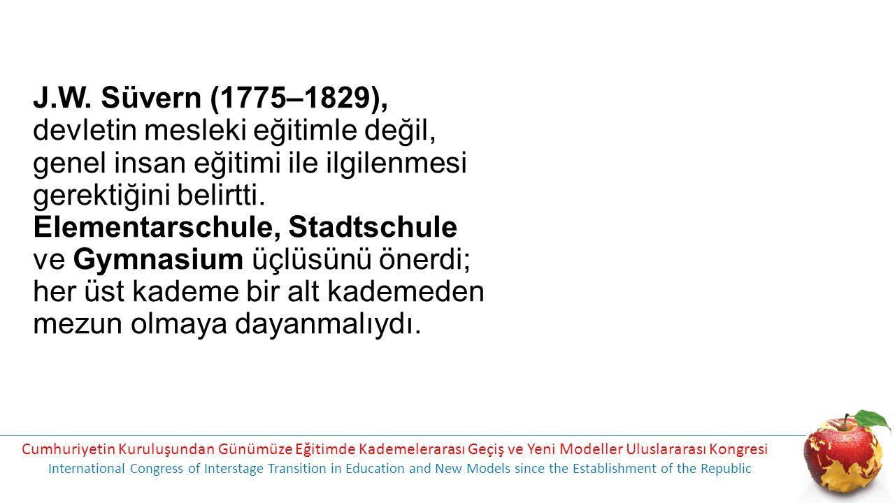 J.W. Süvern (1775–1829), devletin mesleki eğitimle değil, genel insan eğitimi ile ilgilenmesi gerektiğini belirtti. Elementarschule, Stadtschule ve Gy