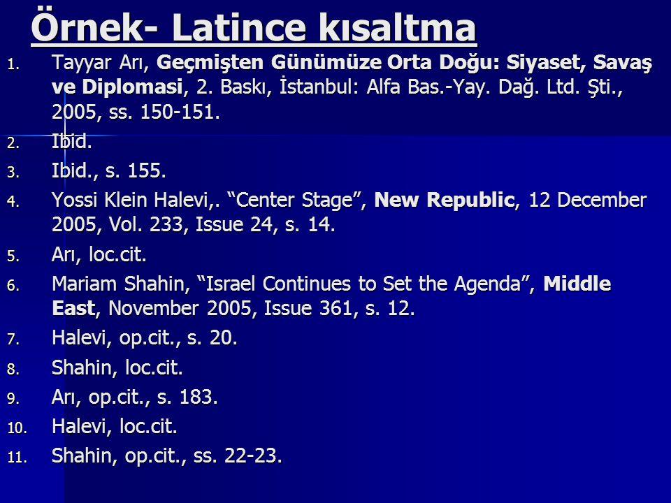 Örnek- Latince kısaltma 1.